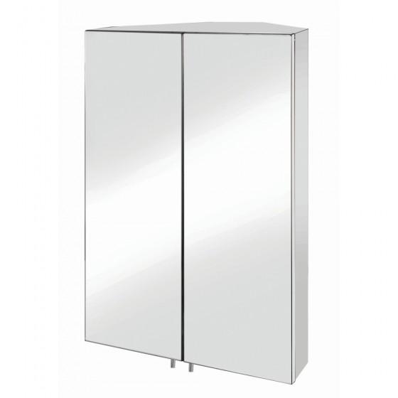 Avisio Double Door Corner Mirror Cabinet 120 Hinges Stainless Steel 450