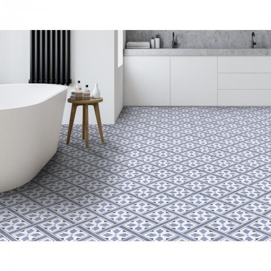Wells Blue Leaf Geometric Floor Tile